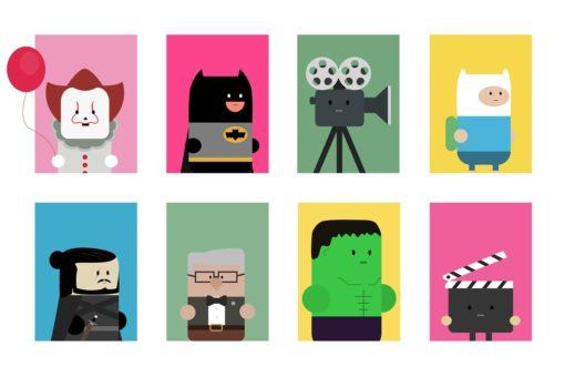 Illustrations depicting cult pop culture characters