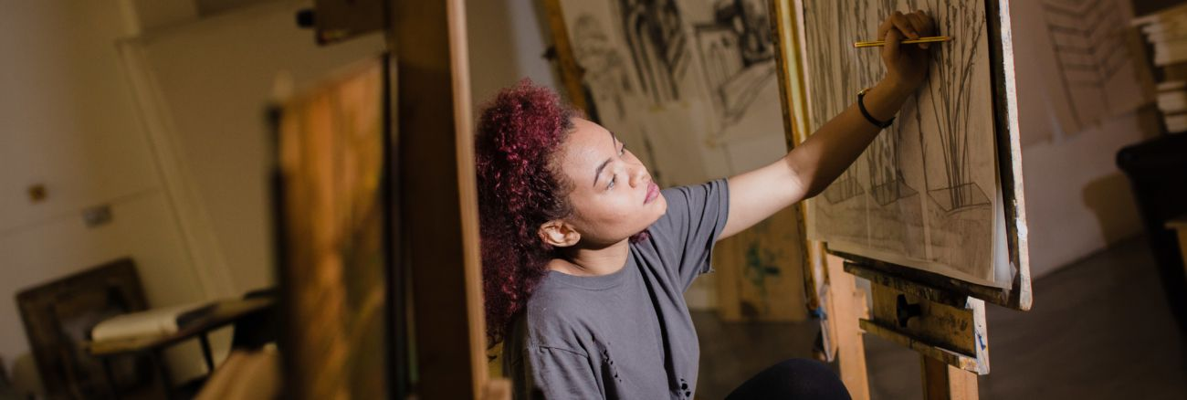Image of female artist at work